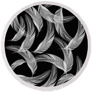 Falling White Feathers Round Beach Towel