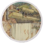 Fallingwater Pen And Ink Round Beach Towel