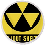 Fallout Shelter Sign Round Beach Towel