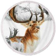 Fallow Deer Round Beach Towel