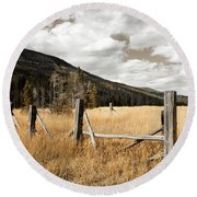 Round Beach Towel featuring the photograph Fallowfield Weathered Fence Rocky Mountain National Park Dramatic Sky by John Stephens