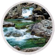 Falls Above Lake Mc Donald Round Beach Towel