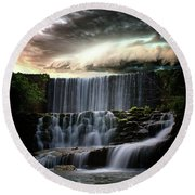Falls At Mirror Lake Round Beach Towel