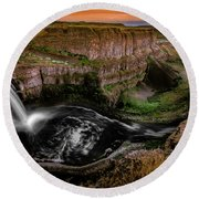 Falls At Palouse Round Beach Towel