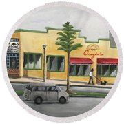 Round Beach Towel featuring the painting Falls Church by Victoria Lakes