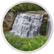 Autumn Flower Of Letchworth Middle Falls Round Beach Towel