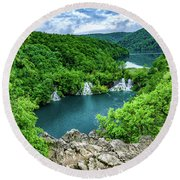 Falls From Above - Plitvice Lakes National Park, Croatia Round Beach Towel
