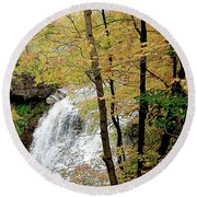 Falls In Autumn Round Beach Towel