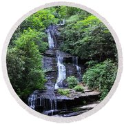 Falls Near Bryson City Round Beach Towel