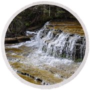 Falls Of The Au Train Round Beach Towel