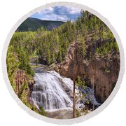 Round Beach Towel featuring the photograph Falls Of The Gibbon by John M Bailey
