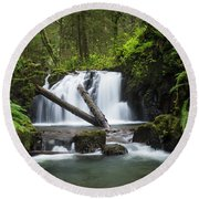 Falls On Canyon Creek Round Beach Towel