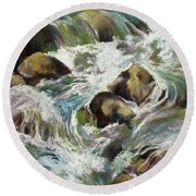 Round Beach Towel featuring the painting Falls by Rae Andrews