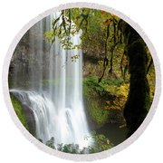Falls Though The Trees Round Beach Towel