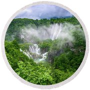 Falls Through The Fog - Plitvice Lakes National Park Croatia Round Beach Towel
