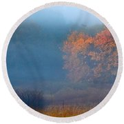 Falltime In The Meadow Round Beach Towel