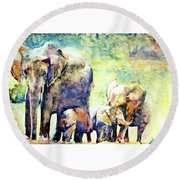 Familial Bonds Round Beach Towel