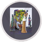 Round Beach Towel featuring the photograph Families Visiting African Art Museum by Elf Evans