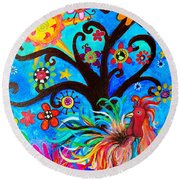 Round Beach Towel featuring the painting Family And New Traditions by Pristine Cartera Turkus