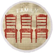 Family- Art By Linda Woods Round Beach Towel