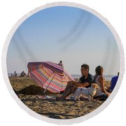 Family At Ocean Beach With Dogs Round Beach Towel