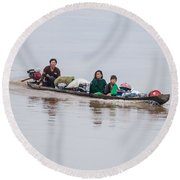 Family Boat On The Amazon Round Beach Towel