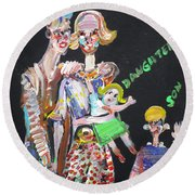 Round Beach Towel featuring the painting Family Day by Fabrizio Cassetta