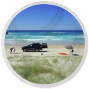 Family Day On Beach With 4wd Car  Round Beach Towel
