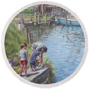 Family Fishing At Eling Tide Mill Hampshire Round Beach Towel