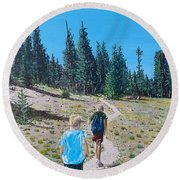 Round Beach Towel featuring the painting Family Hike by Kevin Daly