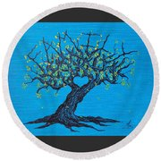 Round Beach Towel featuring the drawing Family Love Tree by Aaron Bombalicki
