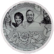 Family Portrait In Charcoal Round Beach Towel