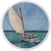 Family Sail Round Beach Towel