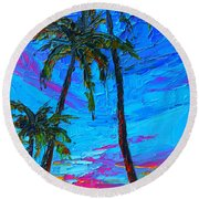 Family Tree - Modern Impressionistic Landscape Palette Knife Oil Painting Round Beach Towel