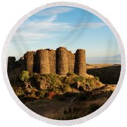Famous Amberd Fortress With Mount Ararat At Back, Armenia Round Beach Towel by Gurgen Bakhshetsyan