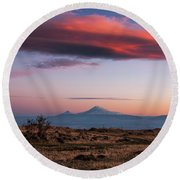 Famous Ararat Mountain During Beautiful Sunset As Seen From Armenia Round Beach Towel