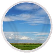 Famous Ararat Mountain Under Beautiful Clouds As Seen From Armenia Round Beach Towel by Gurgen Bakhshetsyan