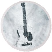 Famous Guitarists Typography Cool Round Beach Towel