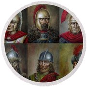 Famous Warriors In History Round Beach Towel by Arturas Slapsys
