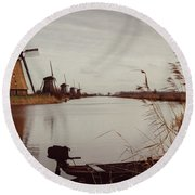 Famous Windmills At Kinderdijk, Netherlands Round Beach Towel