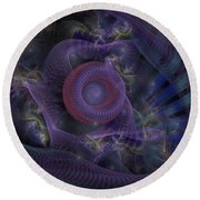 Fan Dancer - Fractal Art Round Beach Towel