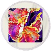 Round Beach Towel featuring the photograph Fanciful Canna  by Heidi Smith