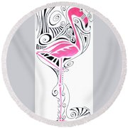 Fanciful Flamingo Round Beach Towel