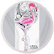 Fanciful Flamingo Round Beach Towel