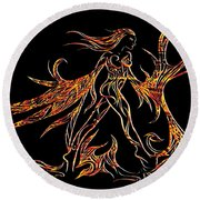 Round Beach Towel featuring the drawing Fancy Flight On Fire by Jamie Lynn
