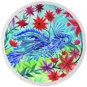 Fancy Fowl In The Flowers Round Beach Towel by Adria Trail