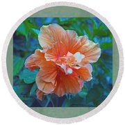 Fancy Peach Hibiscus Round Beach Towel by Sandi OReilly