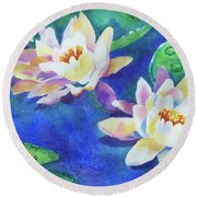 Fancy Waterlilies Round Beach Towel