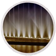 Fanfare Fountains Round Beach Towel by Joseph Hollingsworth