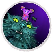 Round Beach Towel featuring the painting Fang And Meep  by DC Langer